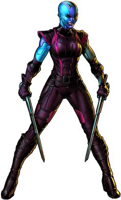 Nebula was a space pirate who believed that she was the granddaughter of Thanos. She often had conflicts with Starfox and Earth superheroes such as the Avengers. Marvel Games, Hq Marvel, Marvel Comic Universe, Comics Universe, Marvel Heroes, Marvel Cinematic, Nebula Marvel, Gamora And Nebula, Nebula Character