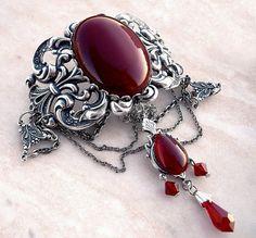 Gargantilla Metal gótico Carneola ágata rojo cristal victoriano joyería gótica
