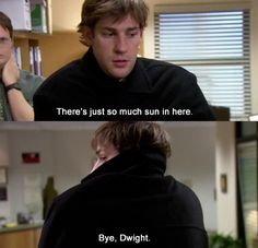 """When Jim convinces Dwight that he's turning into a vampire. 23 Of The Best Pranks Jim Pulled On Dwight In """"The Office"""" Dundee, The Office Show, Office Tv, The Office Jim, Office Cast, Office Jokes, Office Prank, Funny Office, Good Pranks"""