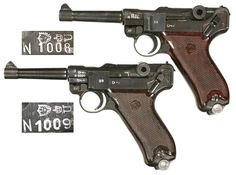 "By 1953, East Germany was desperate for parts for their aging supply of weapons left over from 1945. Using mixed wartime and new machining, they made small test runs of P.38s and Lugers with an ""N"" prefix for ""Neufertigung"" (""new production""). The serial number range of the Lugers is N1001-N1100, and they are thought to have been made at the old Krieghoff factory in Suhl. The DDR was soon supplied with Tokarev and Makarov pistols, and the N-range was stored. This is a consecutive pair."