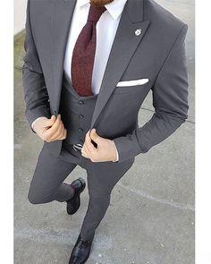 Dress Suits For Men, Men's Suits, Men Dress, Grey Suits, Summer Business Attire, Business Suits, Business Casual, Groom Wedding Dress, Grey Wedding Suits For Men