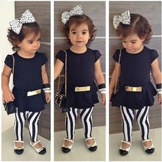 Fashion Toddler Kid Girl Summer Outfits T-shirt+Stripe Pants+Belt 3Pcs Set 2-11T
