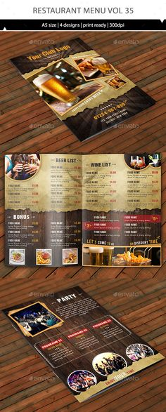 Restaurant Tri-Fold Food Menu Food menu template, Menu templates - food menu template