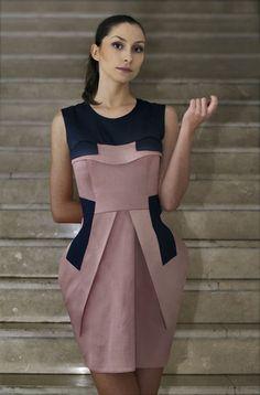 Denis Predescu Pink Architectural Dress