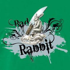 shirt motiv hase Messer Bad Rabbit blaugrau - Männer Premium T-Shirt