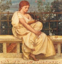 """An ancient Greek woman reads a non-ancient book while resting on a marble bench in front of blossoming shrubs. """"Reading"""" painted by Sir Edward John Poynter in 1871"""