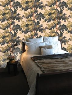 Q: Hello! We're currently decorating our future nursery and we're excited to go with a forest-y look for the room. We're papering one wall in a tree paper (Sandberg's Rafaël, see the picture above), but we can't figure out what color to paint the other walls.