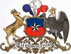 The Coat of Arms of Chile, showing the Huemul on the left and the Condor on the right