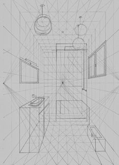 Interior Design For Bathroom Info: 8488834945 Perspective Drawing Lessons, Perspective Sketch, One Point Perspective, Drawing Interior, Interior Design Sketches, Isometric Drawing, Technical Drawing, Drawing Techniques, Designs To Draw