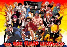 The Crossover Manga/Anime, Shonen Jump, Gon Freecss (Hunter X Hunter), Hinata Shouyo (Haikyuu), Saiki Kusuo (Saiki Kusuo no Sainan), Kirisaki Jitoke (Nisekoi),Yukihira Souma (Shokugeki no Soma), Sakata Gintoki (Gintama), Toriko (Toriko Gourmet Hunter), Kurosaki Ichigo (Bleach), Izuku Midoriya (Boku no Hero Academia), Korosensei (Assassination Classroom), Uzumaki Naruto (Naruto Shippuden), Monkey D. Luffy (One piece), Kankichi Ryotsu (Kochira Katsushika-ku Kameari Kōen-mae Hashutsujo)