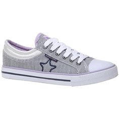 North Star shoes for women   Sneaker in canvas striped background and rubber tip, blue.