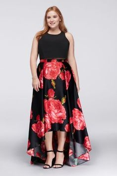 With a full, rose-printed charmeuse skirt and comfy matte jersey bodice, this plus size ball gown is ready to party. The only thing that could make it more lively? A bright red lip. By Betsy & A Plus Size Gowns Formal, Plus Size Dresses, Plus Size Outfits, Special Dresses, Special Occasion Dresses, Plus Size Clothing Stores, Indian Party Wear, Event Dresses, Maxi Dresses