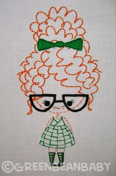 Classroom Girl with glasses, Girl with braids, and Girl with bun Cutesie Girls Digital Embroidery Patterns - Stickerei Ideen Embroidery Art, Embroidery Applique, Cross Stitch Embroidery, Embroidery Patterns, Machine Embroidery, Simple Embroidery, Crochet Patterns, Broderie Simple, Needlework