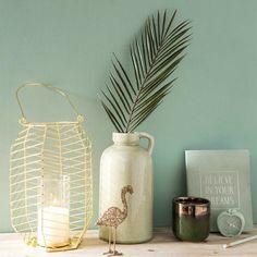 Vase jarre en céramique vert clair H26