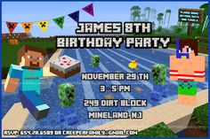 MINECRAFT POOL PARTY INVITATION MINECRAFT SWIM CARD MINECRAFT INVITATION…