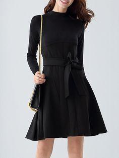 #AdoreWe #StyleWe NATURAL HOUSE Black A-line Plain Cotton-blend Midi Dress - AdoreWe.com