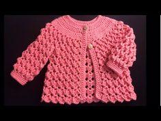 Baby Cardigan Knitting Pattern Free, Baby Sweater Patterns, Crochet Baby Cardigan, Baby Girl Crochet, Crochet Baby Clothes, Crochet Jacket, Crochet Blouse, Baby Knitting, Sweater Cardigan