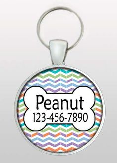 This listing is for a hand made pet ID tag with a unique chevron background in a multi colored blend of modern colors that change throughout the rows.