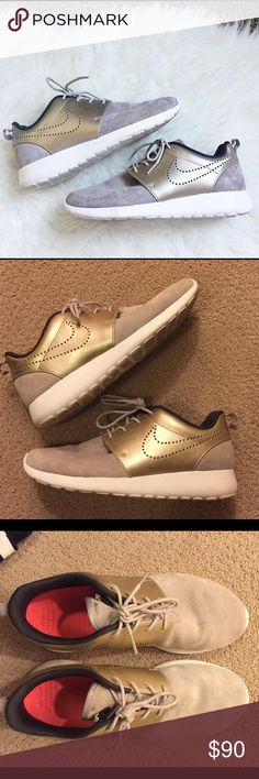 Nike metallic shoes Roshe gold and suede Nikes. Super stylish and only worn twice. Nike Shoes Athletic Shoes