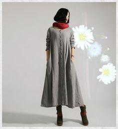 plus size linen buttoned dress Loose fitting dress long dress maxi dress oversized tunic dress autumn dress long sleeve dress