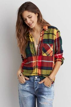 AEO Canyon Boyfriend Flannel  by AEO | A wardrobe favorite for wherever you wander.  Shop the AEO Canyon Boyfriend Flannel  and check out more at AE.com.