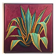 Agave painting by Carin Vaughn Cactus, succulent art Cactus Painting, Cactus Wall Art, Plant Painting, Cactus Cactus, Cactus Flower, Cacti, Cactus Photography, Oil Pastel Paintings, Desert Art
