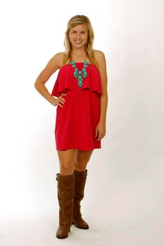 The Raspberry Rouge Dress - $42    We paired this with our Outlaw Boots - $60  and our Turquoise Bubble Necklace (other colors available) - $42