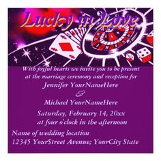 Custom Purple Lucky in Love Wedding Invitation created by Rebecca_Reeder. This invitation design is available on many paper types and is completely custom printed. Casino Theme Parties, Casino Party, Casino Movie, Pineapple Images, Lucky In Love, Social Determinants Of Health, Las Vegas Weddings, Healthy Meals For Two, Wedding Invitation Design