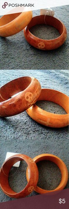 2 wooden bangles Skull head bracelet And cross bracelet Never worn Jewelry Bracelets