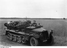 German troops in a SdKfz. 10 half-track vehicle on the Eastern Front, Jun 1941.