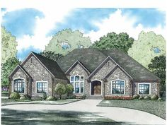European House Plan with 3766 Square Feet and 3 Bedrooms from Dream Home Source | House Plan Code DHSW75033