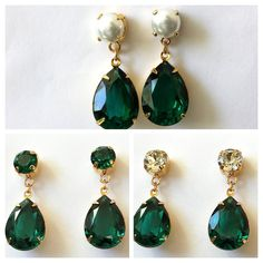 Swarovski Emerald Green Earrings Crystal Drop Earrings Pearl and Emerald Drop Earrings Post Dangle Earrings Bridesmaids Post Earrings Pearl Drop Earrings, Crystal Earrings, Crystal Jewelry, Gold Jewelry, Jewelry Bracelets, Rhinestone Earrings, Etsy Earrings, Emerald Green Earrings, Gold Earrings Designs