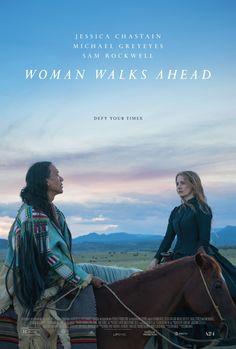 "Susanna White's beautiful, ""Woman Walks Ahead,"" with Michael Greyeyes as Sitting Bull and Jessica Chastain as Catherine Weldon. Netflix Movies, Hd Movies, Movies To Watch, Movies Online, Films, Film Watch, Movie Trailers, Film Trailer, Jessica Chastain"