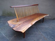 A Conoid Bench by George Nakashima | From a unique collection of antique and modern benches at https://www.1stdibs.com/furniture/seating/benches/