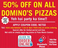 coupons for dominos india