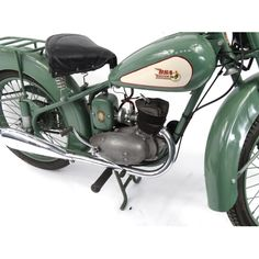 1952 Green BSA Bantam motorbike, 15871 recorded miles, registration - AJK one . in Saturday Collectiv. Sep by Eastbourne Auctions Vintage Motorcycles For Sale, Bikes For Sale, Cars And Motorcycles, 125cc Motorbike, Motorcycle Engine, Harley Davidson Electric Motorcycle, Bsa Bantam, Moped Scooter, Old Cars