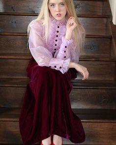 Lavender Velvet & Chiffon Collared Dress | Vintage 1950s | Upon A Find