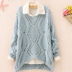 Knitting : sweater : openwork : lace : pastel