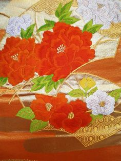 SF1055A Japanese Vintage Orange Floral Mums por TheHauserGallery