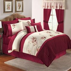 "Brylanehome Jasmine 6-Pc Embroidered Comforter Set by BrylaneHome. $42.99. Delicate floral embroidery winds its way across this pieced and embroidered comforter set. Detailed with pin tucking and diamond stitching. Includes comforter,bedskirt, 2 shams and 2 decorative pillows. Polyester. Machine wash. Imported. Comforter Set, Full, 80""x90"". Queen, 90""x92"". King, 108""x96"". Bed Comforter Sets, Comforters, Christmas Bedroom, Bed Design, Bed Spreads, Luxury Bedding, Bed Sheets, Home Crafts, Home Kitchens"