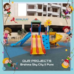 Make every day a Game charged laughter experience with a dreamland of your own. Let kids get creative and imaginative within their own paradise. We at Royal Play love kids and design multi-play equipment for your children, to have their very own joy play town. Royal Play maps, your toy city awaits. #royalplayequipment #playground #slides #childrenattraction