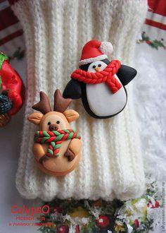 """Купить Брошь """" К зиме готовы!"""" - новогодний олень, пингвин, полимерная глина"""
