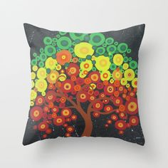 cushion cover with a circle tree of life in red by TheCateEscape, $32.68