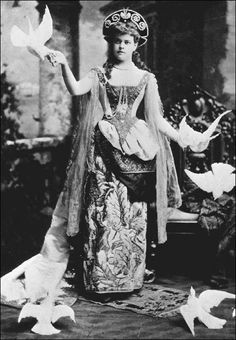 Alva Vanderbilt (mother of Consuelo), in a Venetian fancy dress costume for her famous 1883 Ball to open her new mansion on Fifth Avenue.