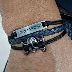 Pulseira Bracelete Masculino Feminino Caveira Stay Strong mens bracelets fashion style cocar brasil