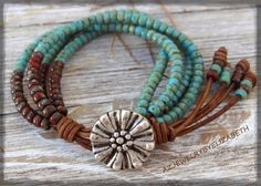 Beaded Single Wrap Bracelet Hand Crafted With Leather And Seed Beads/ Seed Bead Leather Wrap Bracelet.