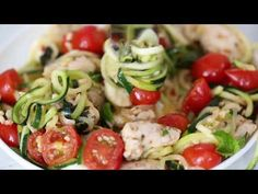 Sauteed bite-sized chicken breast and grape tomatoes cooked with spiralized zucchini, fresh mozzarella and basil. An easy, low-carb 30-minute meal!