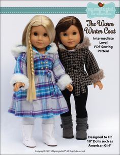 My Angie Girl The Warm Winter Coat Doll Clothes Pattern 18 inch American Girl Dolls | Pixie Faire
