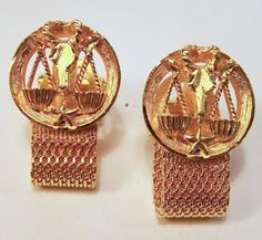 Vintage Swank Libra Mens Cufflinks Gold Tone by GretelsTreasures