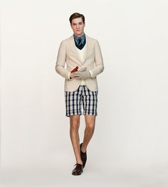 Preppy summer. Interesting how men's shorts are starting to get higher on the leg...fashion cycles.